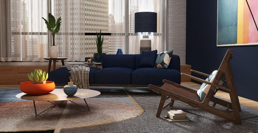 Blue Apartmet Interior Design Render