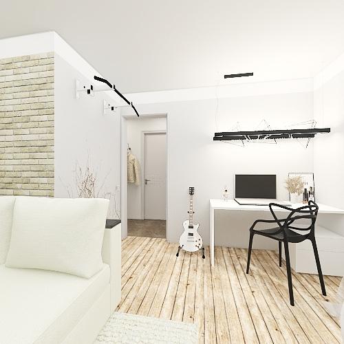 Small living for young man. Krasnoyarsk. Russia. Interior Design Render