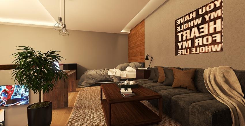 Loft Unit Design in Industrial Style Interior Design Render
