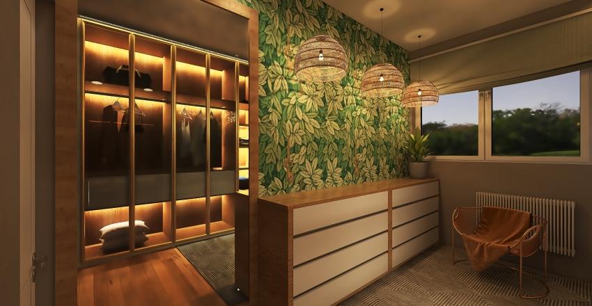Vestidor de estilo escandinavo. Interior Design Render