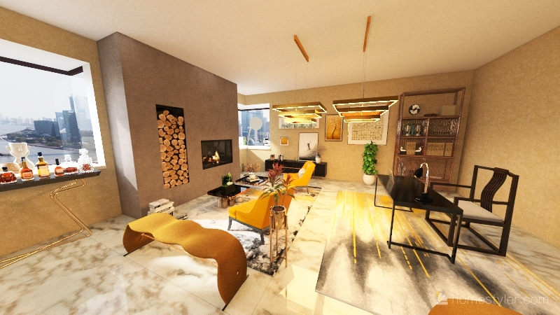 Dining/Living Room Interior Design Render