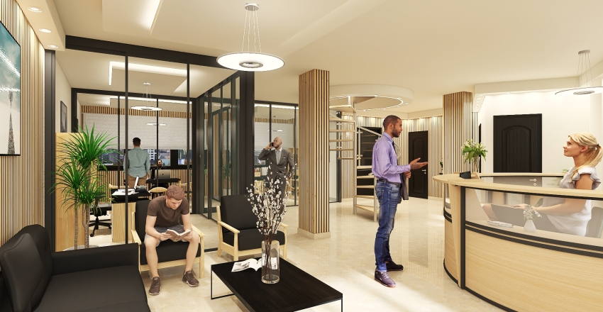 Company Offices Interior Design Render