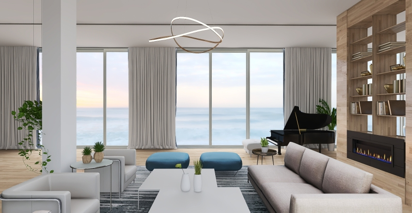 Residence at the Seaside - Day area Interior Design Render