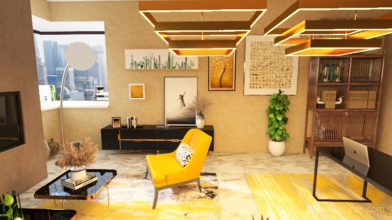 Dining/Living Room Interior Design Render
