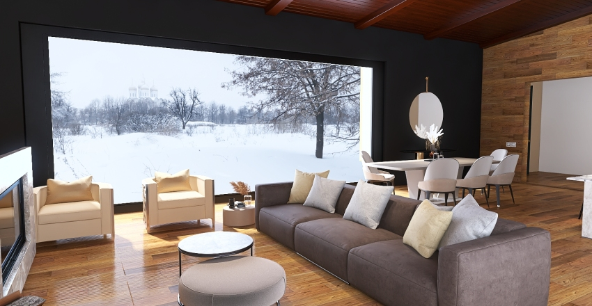 House in the snow Interior Design Render
