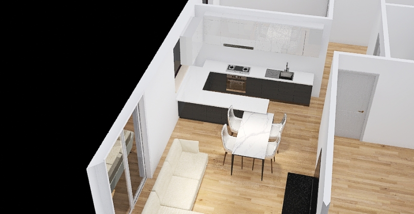 Gdańskie Tarasy 68m2 3 pokoje_nowy układ Interior Design Render