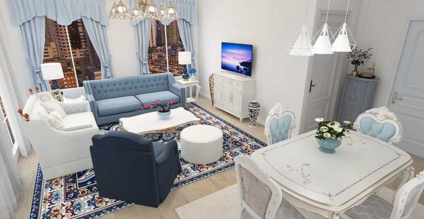 Modern Victorian Shabby Chic Cottage House Interior Design Render