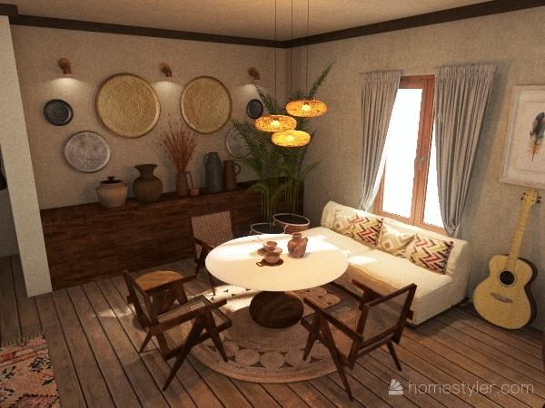 boho vibe Interior Design Render