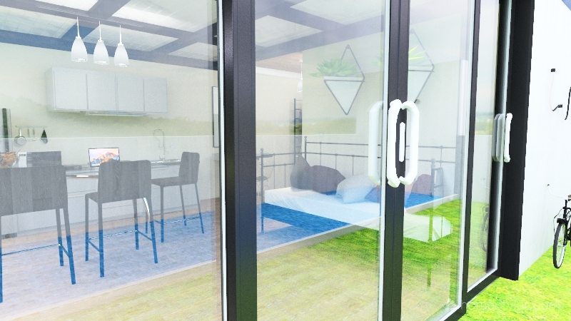 Tiny house with pool Interior Design Render