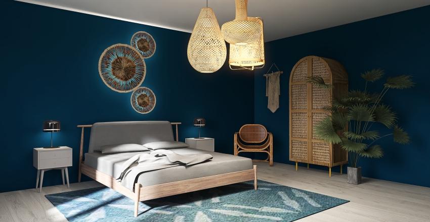 Rattan Bedroom Interior Design Render