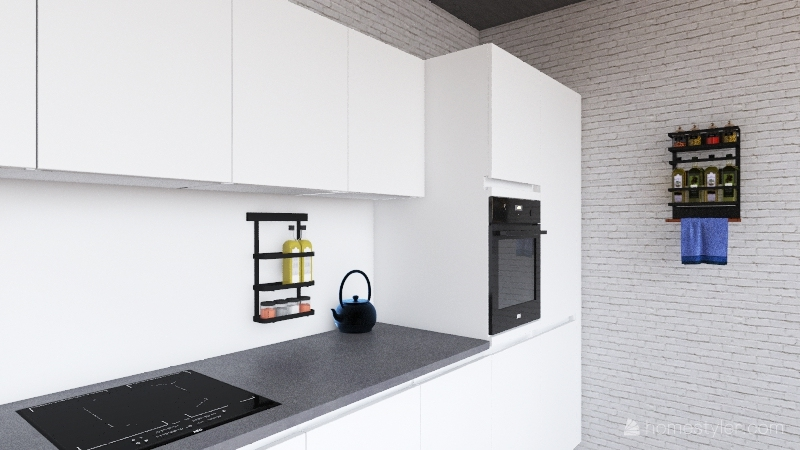 loft- blue, black and white Interior Design Render