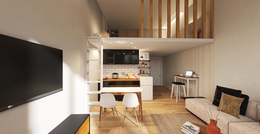 Studio Condo unit in Japandi Style Interior Design Render