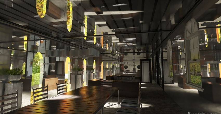 v2_Courtyard style home Interior Design Render