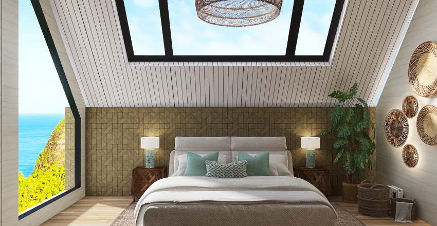Master suite in a house by the beach Interior Design Render