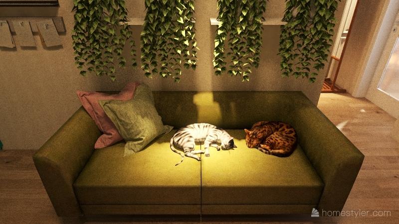 little green house Interior Design Render