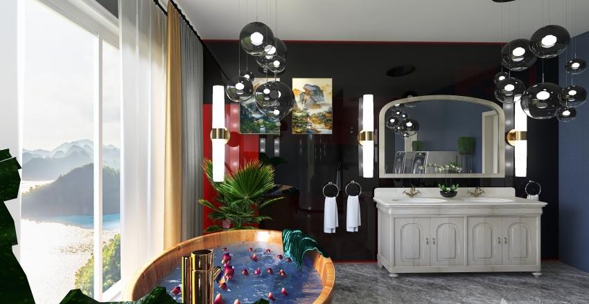 Projekt domu szeregowego. Salon. Interior Design Render