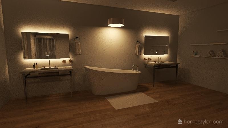 Christmas/dream house at night Interior Design Render