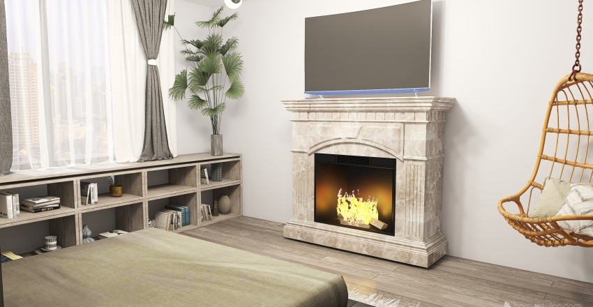 Gray bedroom Interior Design Render