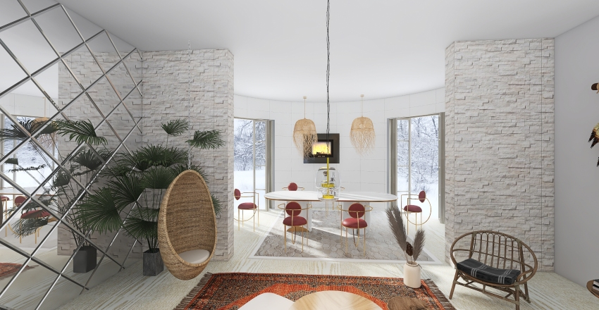 Classic Circle Design Interior Design Render