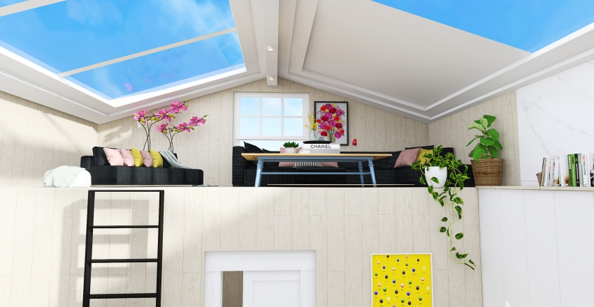 tiny home NEW VERSION BEFORE AND AFTER Interior Design Render