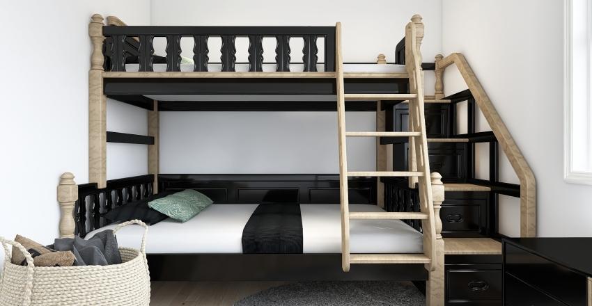 Kid's Bedroom Apartment Wood & Black Theme Interior Design Render