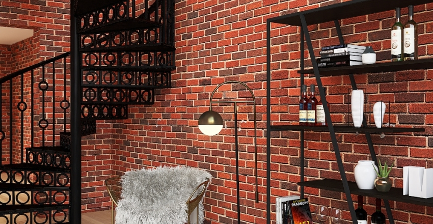 new york loft Interior Design Render