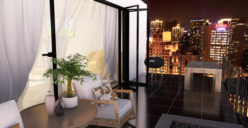 Modern Master Bedroom, Bathroom, and Closet Interior Design Render