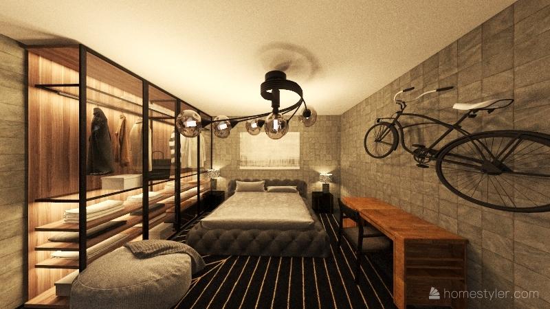 modern black studio Interior Design Render