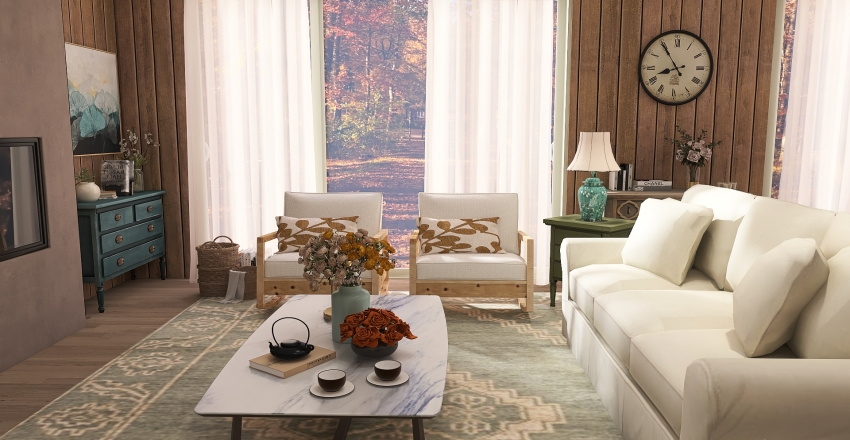 Cabin in the woods Interior Design Render