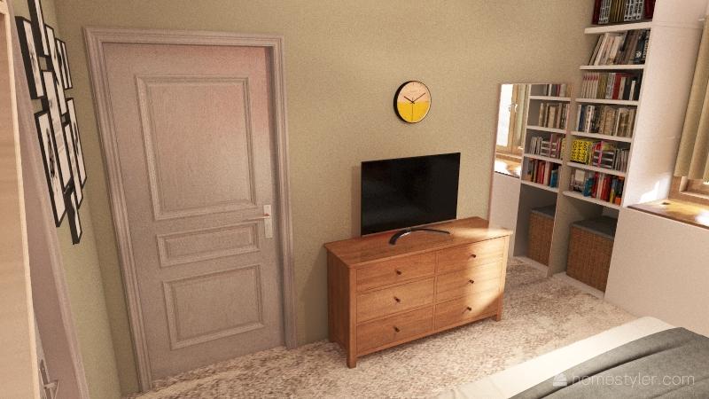 Booklover's Bedroom Interior Design Render