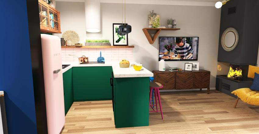 Version 2 Boho livingroom with kitchen Interior Design Render