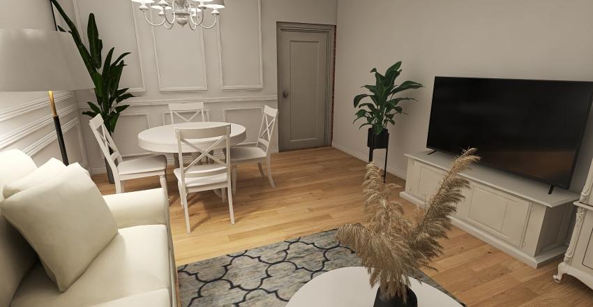 Salon Elwira czarny dywan biale krzesla Interior Design Render