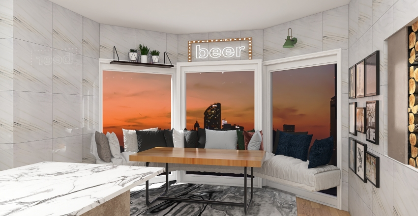 one bedroom home Interior Design Render