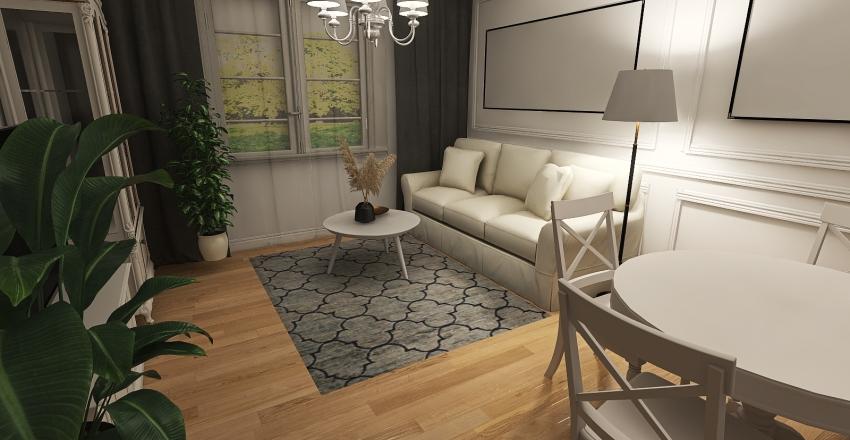 Salon Elwira jasny dywan biale krzesla Interior Design Render