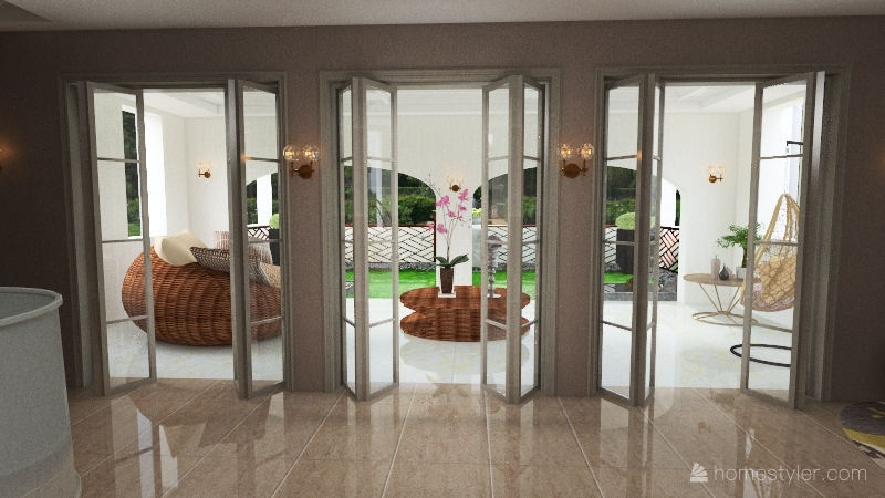 Residential - Master Bedroom with Patio Interior Design Render