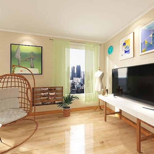 A Couple's Cozy Loft Interior Design Render