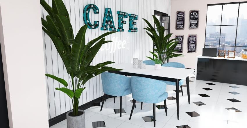 #6 Pastel Cafeteria  Interior Design Render