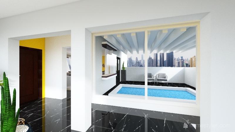 yellow house Interior Design Render