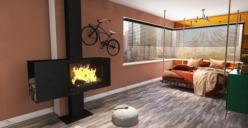 Otwarta przestrzeń-mieszkanie Interior Design Render