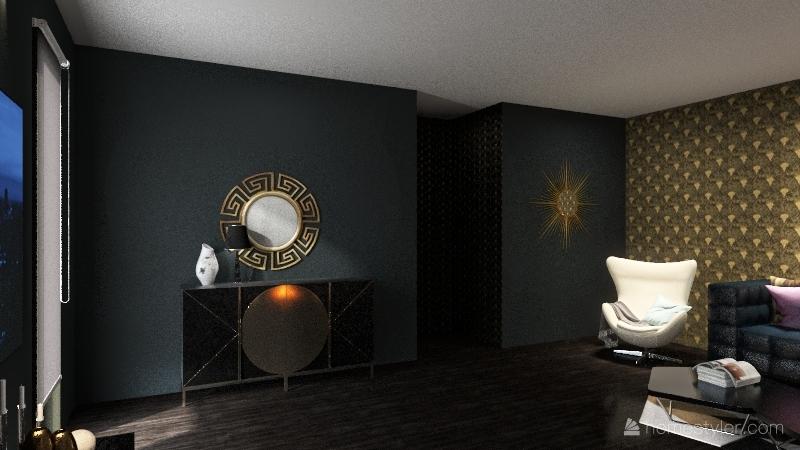 boho room & art deco lounge Interior Design Render