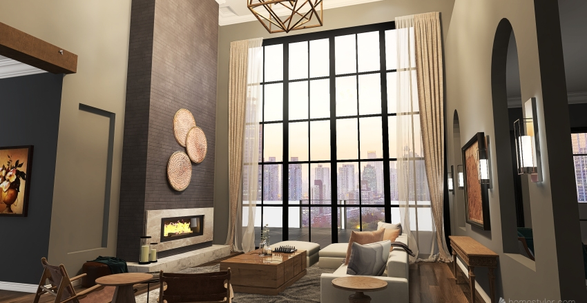 New York Penthouse Interior Design Render