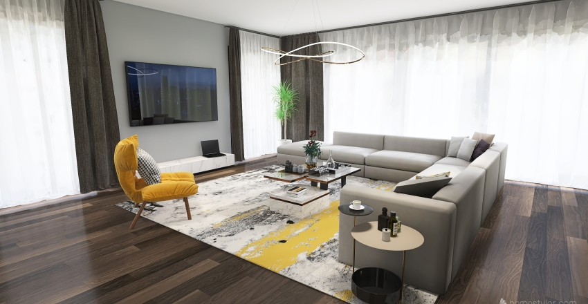 Living room with dining area and kitchen Interior Design Render