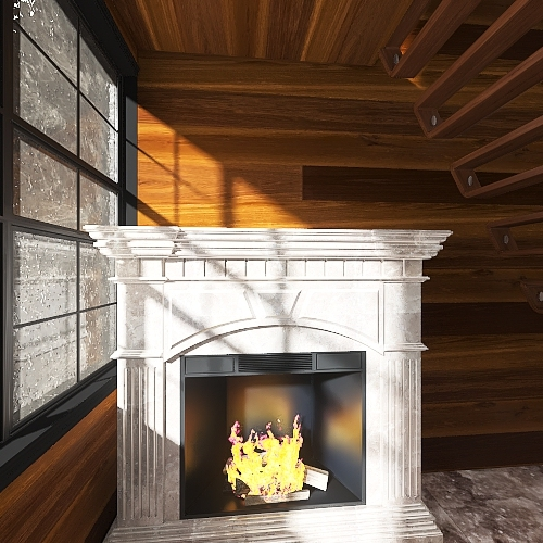 Mountain 1 Bedroom Cabin Interior Design Render