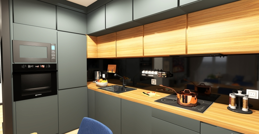 Wood and black in modern flat Interior Design Render