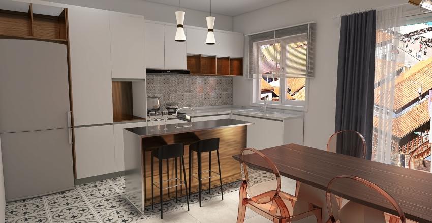 kitchen livin Interior Design Render