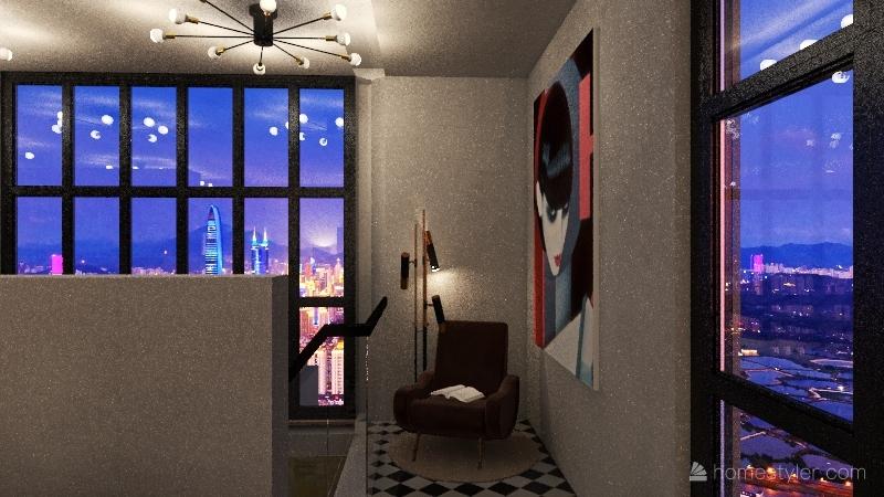 chic loft Interior Design Render