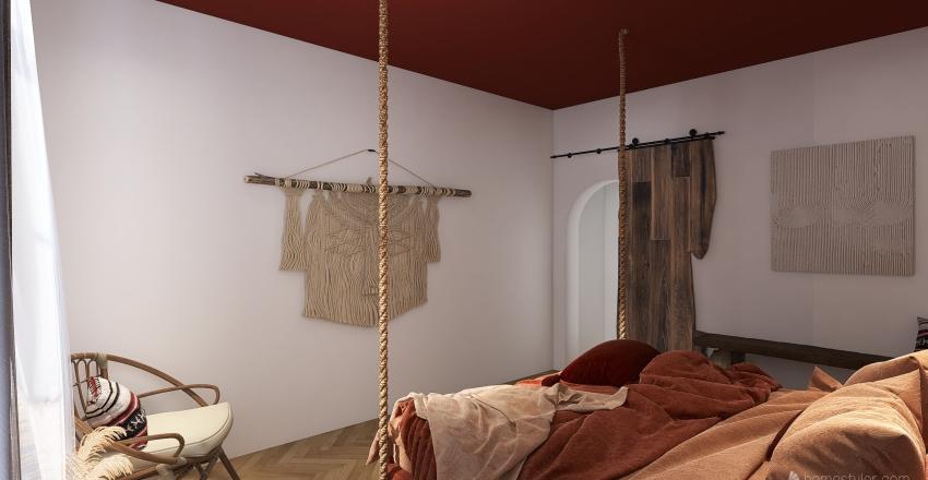 Bohemian Bedroom Interior Design Render