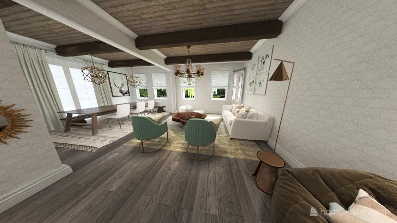 mordern farmhouse Interior Design Render