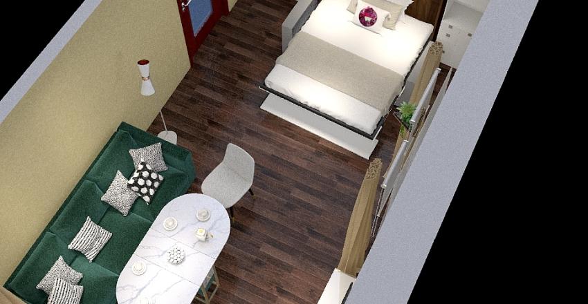 Спальня-гостиная и балкон Interior Design Render