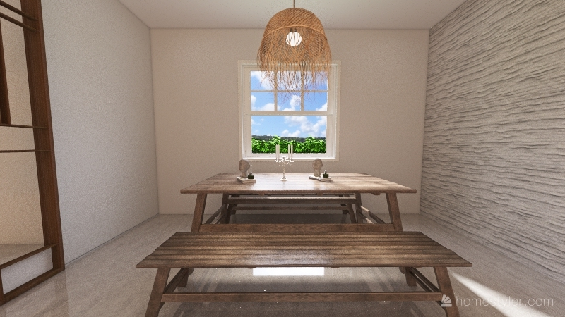 white concrete  house Interior Design Render